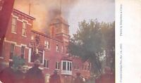 Fremont Nebraska~Fremont College Fire~Firemen Rescue Lady on Roof~1907 Postcard