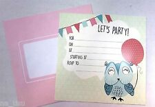 16x PARTY INVITATIONS OWL  envelopes birthday lady adult invites