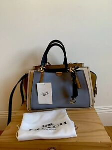 COACH Dreamer in Color Block Leather (Mist Straw Multi/Brass) Handbag NWT $495