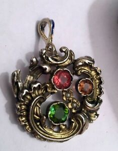 FABERGE Antique Imperial RUSSIAN Brooch / Pendant with stones , 84 silver