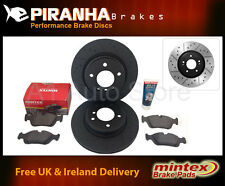 BMW 3 Saloon E30 318i ABS 85-91 Front Brake Discs Black Mintex Pads + Grease