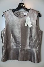 NWT Gerard Darel Pewter Sheepskin Fully Lined Chemisier Size 42 (US 10)MSRP $630