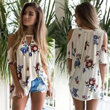 Fashion Womens Floral Print V Neck Loose Beach Ladies Casual T Shirt Tops Blouse