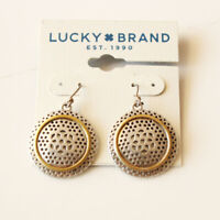 New Lucky Brand Dual Tones Round Drop Earrings Gift Vintage Women Party Jewelry