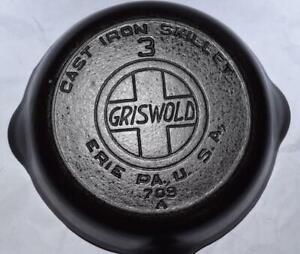 Vtg. #709 A Griswold no. 3 Cast Iron Skillet - Frying Pan - Slanted Lettering