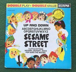 "Sesame Street ""Up and Down"" ""ABCDEFGHIJKLMNOPQRSTUVWXYZ"" Double Play Record 45"