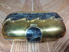 Art Deco Brass Pillow Purse With Dark Precious Designs and Flapper Vintage