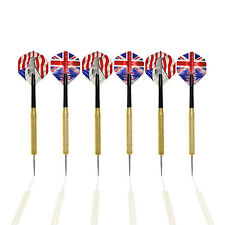 6 pcs STEEL TIP BRASS DARTS SET with 2 EXTRA sets of SPARE DART FLIGHTS FREE!