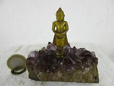 Zircon Gemme Bouddha sur Amethyst niveau vieux à la main de la Thaïlande avant 1960