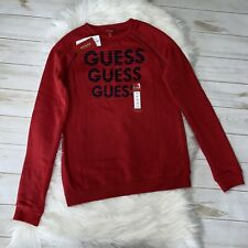 GUESS Boys Crewneck Active Sweater Fleece Logo Size 16 Varsity Red Navy Blue NWT
