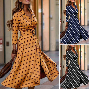 ZANZEA Womens Full Sleeve Evening Pockets Tunic Down Polka Dot Shirt Dress Plus