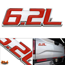 """6.2L"" Polished Metal 3D Decal Red&Silver Emblem For Chevrolet/Cadillac/Ford"