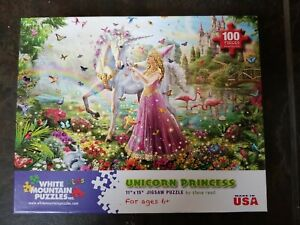 100 piece puzzle Unicorn Princess by Steve Read and White Mountain Puzzles #991