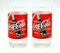 Vintage Set of 2 Coca-Cola Classic Drinking Glasses Retro 1997 Coke Soda Pop