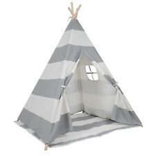 Large Cotton Canvas Kids Boys Girls Grey Stripe Square Teepee Outdoor Tent