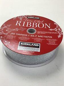 "Kirkland Wire Edged Silver Ribbon. 1.5"" X 50 Yards. Sparkle.  Wedding, Christm"