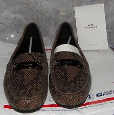 COACH women's OLIVE LOAFER Sand Snake Printed Leather MOCCASIN SHOES 9.5 M Flats