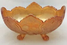 VINTAGE INDIANA MARIGOLD CARNIVAL GLASS OBLONG FOOTED FRUIT BOWL SCALLOPED EDGE
