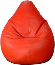 Red  Leatherite Single Seating L Size Bean Bag Without Beans Double Stitched