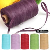 280M Raffia Straw Yarn Hand Crocheting Knitting Flat Linen for DIY Hats Bags DIY