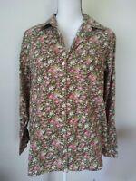 Jones New York Sport Green Floral Button Down Shirt Long Sleeve XL