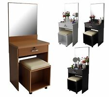 Dresser Vanity Table Dressing Mirror Unit cushion Stool Bedroom Lock white makeu