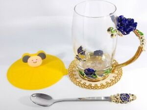Enamels Butterfly Flower Clear Glass Tea Cup Coffee Mug with Spoon, Silicone Lid