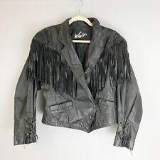 VTG WINLIT Fringed Leather Jacket Medium Black Biker Boho Retro Wrap Snap