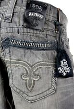 """$220 Mens Rock Revival Jeans """"Andy"""" Leather inserts Straight Leg 32 X 32"""