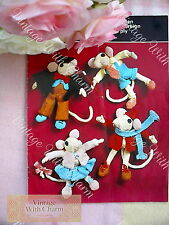 Vintage Knitting Pattern Toy 4 Mice Friends In Clothes.  ONLY  £2.49 + Free P&P