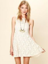 NWT FREE PEOPLE SzM  MILES OF LACE FIT & FLARE SLEEVELESS DRESS IVORY $128