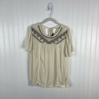 Knox Rose Top Large Cream Multicolor Tassels Embroidered Crochet Boho Peasant