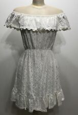 Monteau White Laces Mini Off Shoulder Women Dress Size Medium