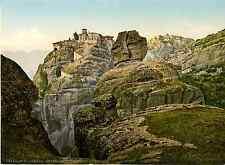 Grèce. Météora Couvent Saint Stéphano Photochrome original d'époque, Vintag