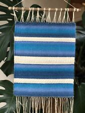 Hand Woven Tapestry Boho Hippie Wall Hanging Home Decor Blue Wave Sea Weaving
