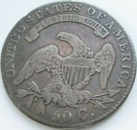 1831 Capped Bust Silver Half Dollar in a SAFLIP® - VF- (Fine+) Details