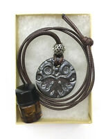 Handmade Ceramic Aromatherapy Essential Oil Diffusing Necklace Burnished Steel