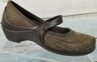 Crocs Brown Suede Mary Jane Strap Flats Slip On Casual Walking Shoes Womens 7 W