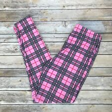 Pink Red Black & White Plaid Women's Leggings Plus Size TC 12-20 Super Soft