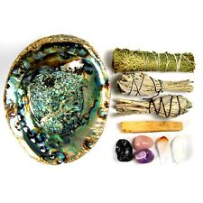 House Blessing Crystal and Smudge Set Kit Abalone Shell Sage Cedar Palo Santo