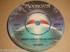 """VINYL 7"""" SINGLE - HOTSHOTS - SNOOPY VERSUS THE RED BARON - MOON 5"""