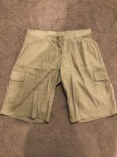 Studio M Linen Blend Khaki Cargo Shorts Size 8