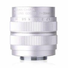 Fujian 35mm F1.7 CCTV Lens for Micro 4/3 NEX Nikon 1 EOS M Fujifilm Sliver