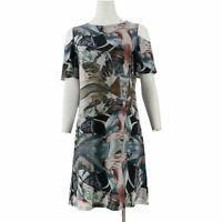 Attitudes by Renee Crew Neck Petite Como Jersey Dress (Black Multi, 1XP) A301371