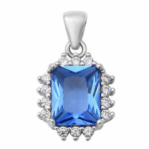 ELANZA Simulated Blue Topaz +Simulated Diamond Halo Pendant in Sterling Silver