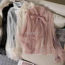 Women Mesh Bows Tie Neck Sheer Basic Shirt Party Pullover Casual Top Blouse Pink