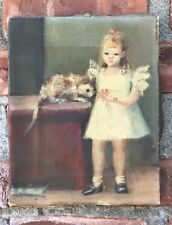 Social Realist Painting By Woodstock New York Artist Joseph Pollet Girl With Cat