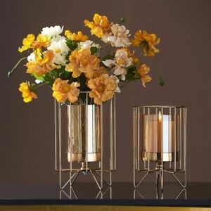 Nordic Luxury Metal Glass Vase Tabletop Home Decoration Candlelight Stand Holder