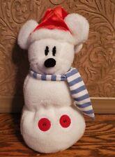 Disney Store Mickey Mouse plush Snowman w/Santa hat & scarf, 2001