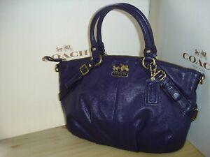 Coach Madison Leather Sophia Satchel Purse 15960 Purple, Satchel only